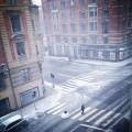 Schneegestöber am Morgen